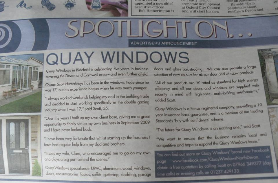 Quay Windows Bideford, North Devon Gazette
